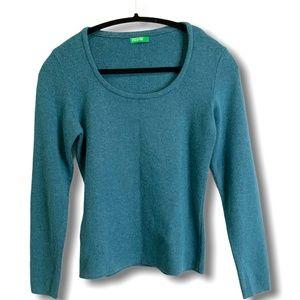 BENETTON Teal LS Luxury Blend Scoop Neck Sweater S